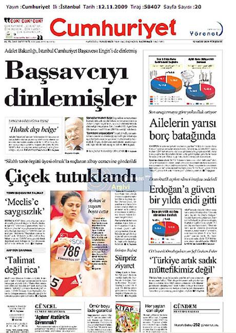 Gazetelerin Albay Çiçek manşetleri galerisi resim 4