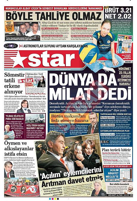 Gazete manşetleri (15 Kasım) galerisi resim 13