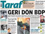 Taraf'tan BDP'ye geri dön manşeti!