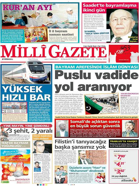 Günün önemli gazete manşetleri (29.08.11) galerisi resim 8