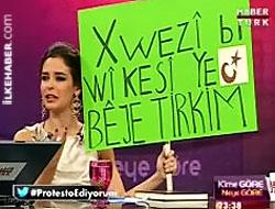 Pelin Batu'dan Kürtçe pankartlı protesto!