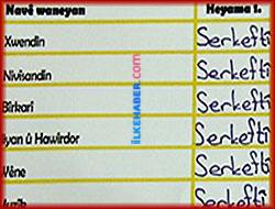 Kürtçe okulda Kürtçe karne