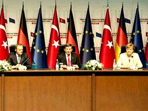 Davutoğlu, Merkel, Timmermans ve Tusk ortak açıklama yaptı