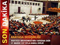 Kritik madde 337 oyla kabul edildi