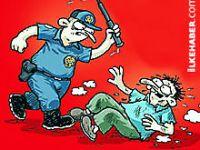Penguen polis şiddetini çizdi