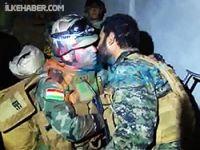 Kobani'de kucaklaşma anı